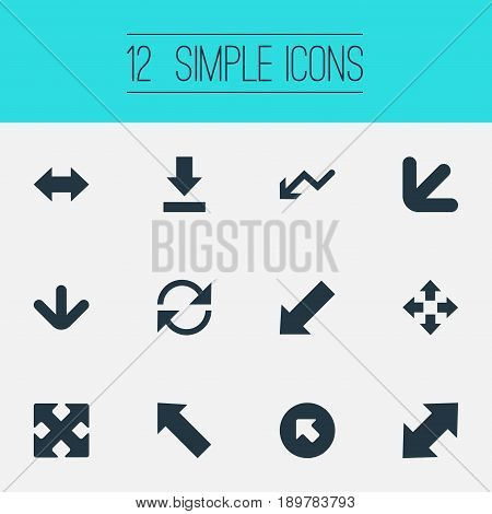 Vector Illustration Set Of Simple Pointer Icons. Elements Straight-Back, Downwards Pointing, Crossed Arrows And Other Synonyms Down, Recycle And Double.