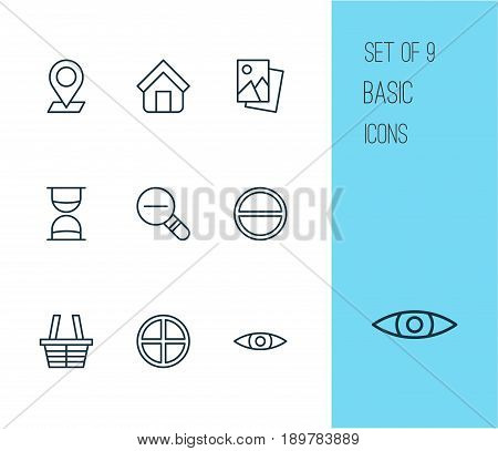 Icons Set. Collection Of Landscape Photo, Refuse, Shop Elements. Also Includes Symbols Such As Positive, Zoom, Eye.