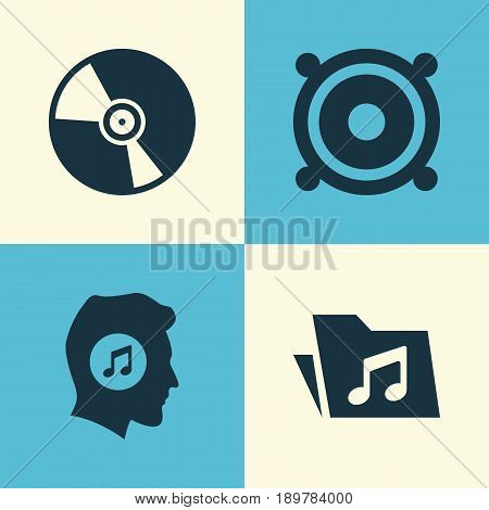 Multimedia Icons Set. Collection Of Dossier, Meloman, Megaphone And Other Elements. Also Includes Symbols Such As Vinyl, Music, Megaphone.