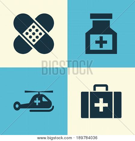 Medicine Icons Set. Collection Of Copter, Bandage, Drug Elements. Also Includes Symbols Such As Heartbeat, Case, Copter.