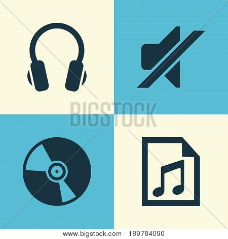 Multimedia Icons Set. Collection Of Cd, File, Silence And Other Elements. Also Includes Symbols Such As File, Earphone, Earmuff.