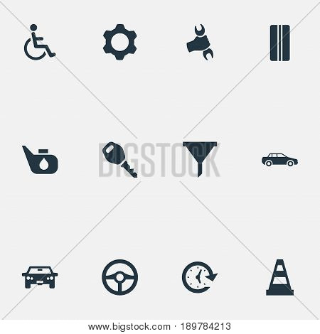 Vector Illustration Set Of Simple Auto Icons. Elements Filter, Lock, Watch And Other Synonyms Key, Man And Filter.