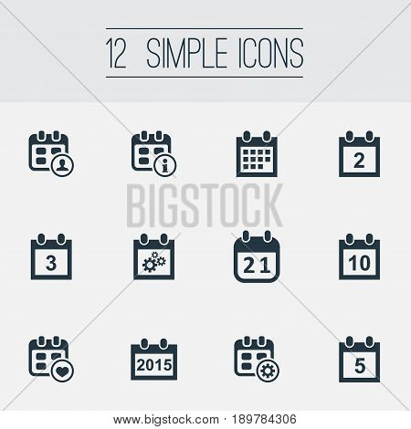 Vector Illustration Set Of Simple Plan Icons. Elements Annual, Inform, Repair And Other Synonyms 2, Annual And Rendezvous.
