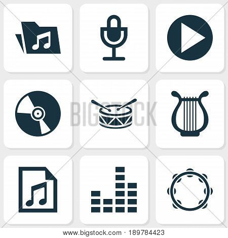 Audio Icons Set. Collection Of Dossier, Timbrel, Barrel And Other Elements. Also Includes Symbols Such As Button, Percussion, File.