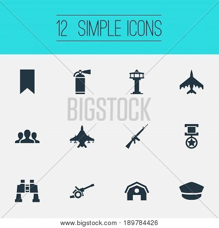 Vector Illustration Set Of Simple Battle Icons. Elements Pursuit Plane, Hat, Rifle Gun And Other Synonyms Storage, Bookmark And Howitzer.