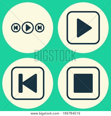 Music Icons Set. Collection Of Audio Buttons, Start Song, Stop Button And Other Elements. Also Includes Symbols Such As Audio, Backward, Media.