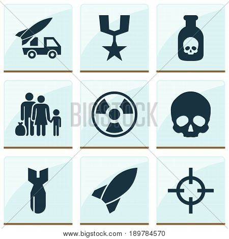 Warfare Icons Set. Collection Of Danger, Fugitive, Dangerous And Other Elements. Also Includes Symbols Such As Gong, Danger, Sniper.