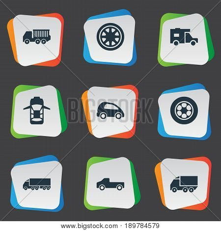 Vector Illustration Set Of Simple Transport Icons. Elements Carriage, Lego, Van And Other Synonyms Transport, Haulage And Transportation.