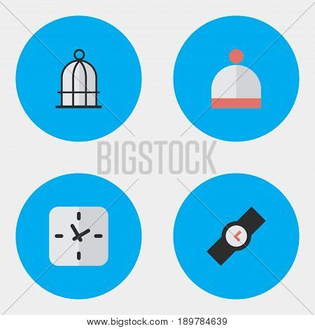 Vector Illustration Set Of Simple  Icons. Elements Time, Wool Wear, Birdcage And Other Synonyms Watch, Wristwatch And Prison.