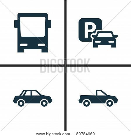Transportation Icons Set. Collection Of Cabriolet, Road Sign, Omnibus And Other Elements. Also Includes Symbols Such As Parking, Car, Pickup.