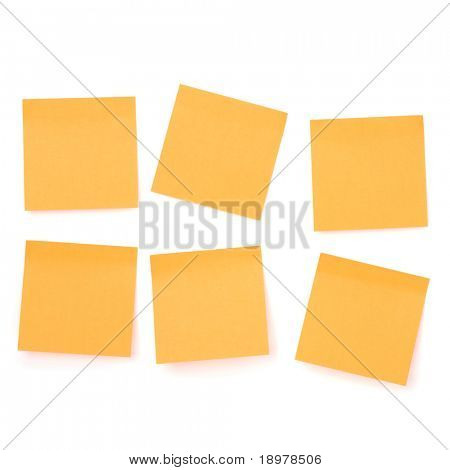 Yellow sticky memo paper isolated on white background poster