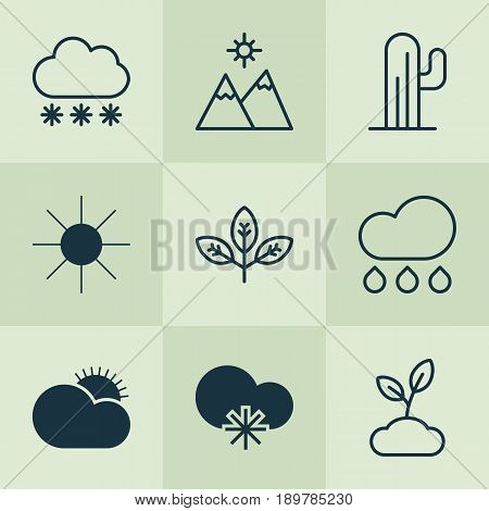 Landscape Icons Set. Collection Of Plant, Sunny Weather, Sprout And Other Elements. Also Includes Symbols Such As Sprout, Cloudburst, Sunlight.
