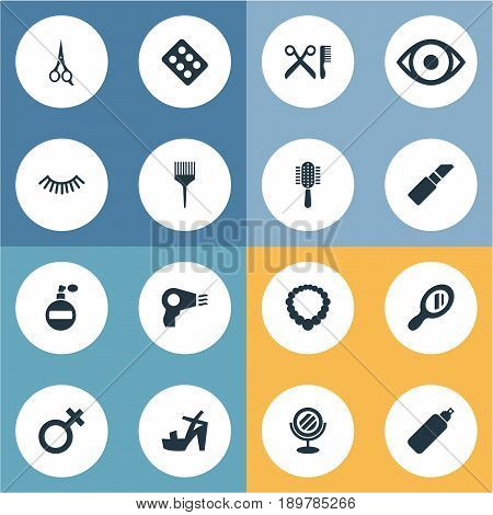 Vector Illustration Set Of Simple Spa Icons. Elements Eye, Glass, Comb And Other Synonyms Shoes, Woman And Hairbrush.