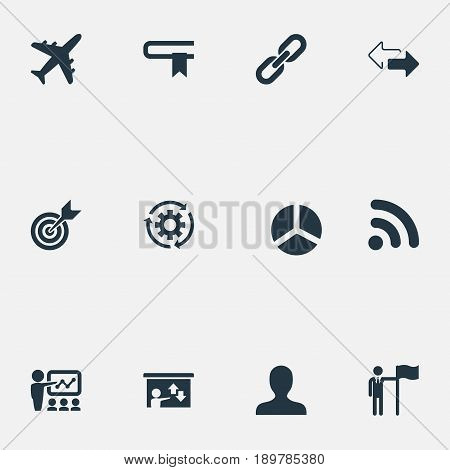 Vector Illustration Set Of Simple Solution Icons. Elements Literature, Round Diagram, Process And Other Synonyms Opposite, Seminar And Presentation.