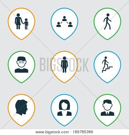 Person Icons Set. Collection Of Male, Businesswoman, Jogging And Other Elements. Also Includes Symbols Such As Child, Jogging, Gentlewoman.