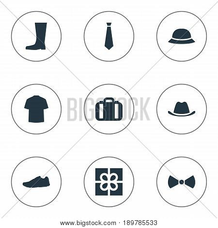 Vector Illustration Set Of Simple Garments Icons. Elements Man Clothing, Present, Formal Wear And Other Synonyms Accessory, Shoes And Top.