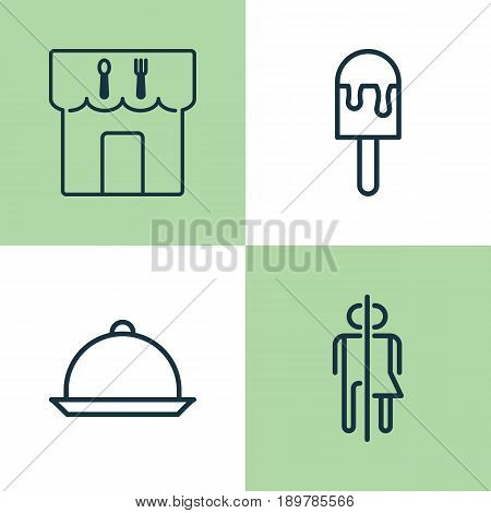 Eating Icons Set. Collection Of Dining, Restroom, Lolly And Other Elements. Also Includes Symbols Such As Meal, Popsicle, Lolly.