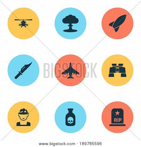 Battle Icons Set. Collection Of Missile, Danger, Aircraft And Other Elements. Also Includes Symbols Such As Grave, Tomb, Glass.
