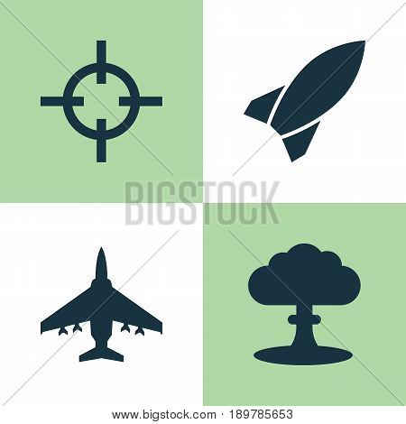Battle Icons Set. Collection Of Atom, Aircraft, Missile And Other Elements. Also Includes Symbols Such As Missile, Nuclear, Bomb.