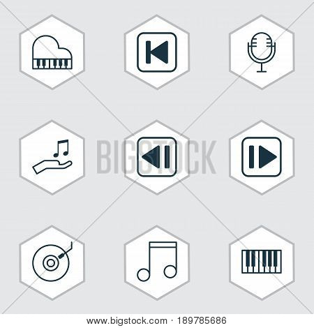 Audio Icons Set. Collection Of Last Song, Following Music, Note And Other Elements. Also Includes Symbols Such As Instrument, Synthesizer, Forward.