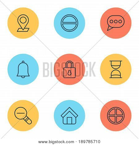 Icons Set. Collection Of Hourglass, Zoom Out, Positive And Other Elements. Also Includes Symbols Such As Pinpoint, Clock, Positive.