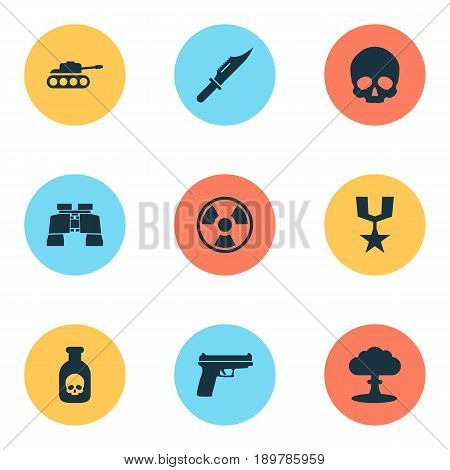 Combat Icons Set. Collection Of Order, Glass, Weapons And Other Elements. Also Includes Symbols Such As Explosion, Order, Gong.