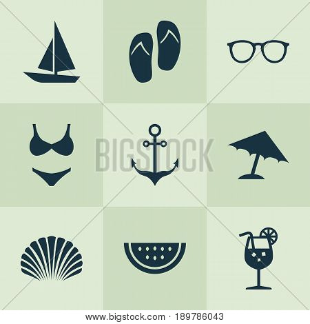 Sun Icons Set. Collection Of Conch, Bikini, Melon And Other Elements. Also Includes Symbols Such As Ship, Drink, Anchor.