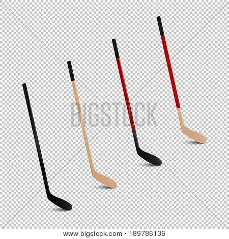 Illustration of sports realistic icon set - ice hockey sticks. Design templates in EPS10 vector. Closeup isolated on transparent background.