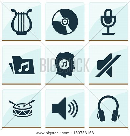 Audio Icons Set. Collection Of Meloman, Lyre, Sound And Other Elements. Also Includes Symbols Such As Lover, Mute, Lyre.