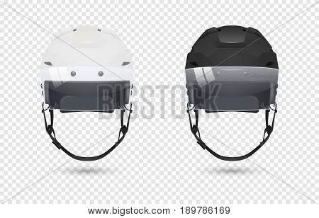 Realistic classic ice hockey helmets with visor set - black and white color. Isolated on transparent background. Front view. Design template closeup in EPS10 vector. Mock-up for branding and advertise etc.
