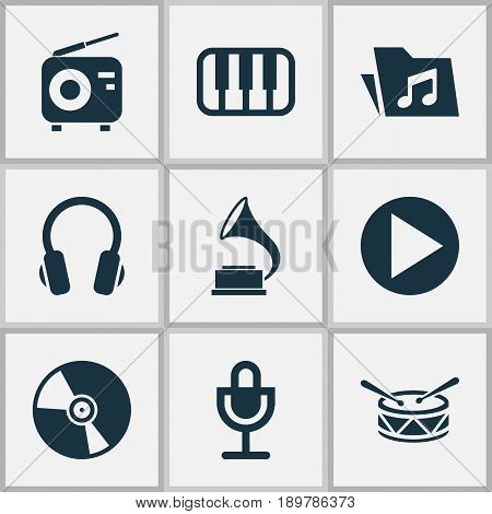 Multimedia Icons Set. Collection Of Dossier, Earphone, Mike And Other Elements. Also Includes Symbols Such As Earphone, Instrument, Phonograph.