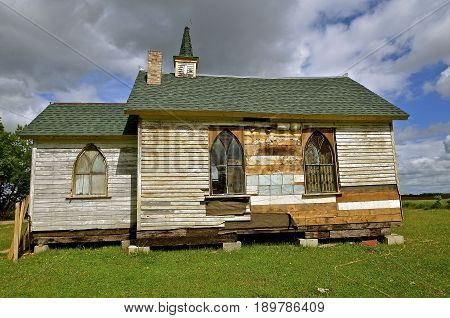 A small rural church is in the process of being restored.