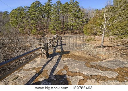 Lines and Shadows on a Remote Cliff in the Kings Bluff Scenic Area in Ozark National Forest in Arkansas