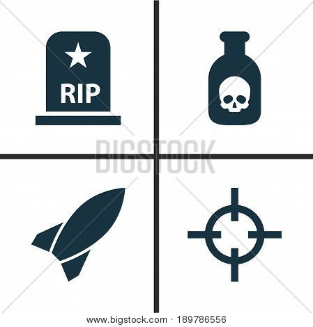 Warfare Icons Set. Collection Of Danger, Target, Rip And Other Elements. Also Includes Symbols Such As Missile, Sniper, Rocket.