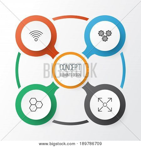 Icons Set. Collection Of Branching Program, Wireless Communications, Information Components And Other Elements. Also Includes Symbols Such As Conditional, Data, Algorithm.