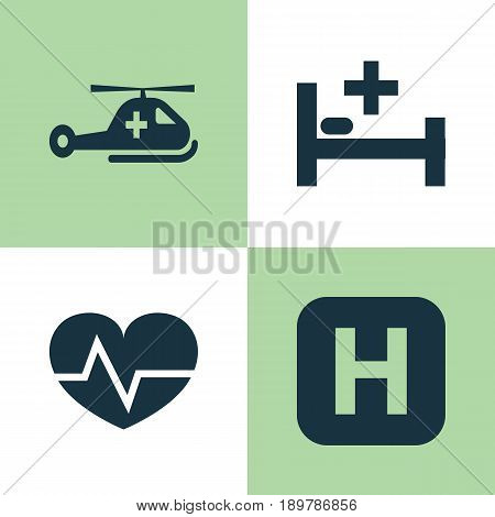 Medicine Icons Set. Collection Of Copter, Tent, Beating And Other Elements. Also Includes Symbols Such As Care, Bed, Copter.