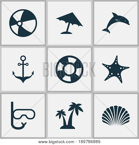 Icons Set. Collection Of Conch, Trees, Tube And Other Elements. Also Includes Symbols Such As Lifebuoy, Conch, Anchor.