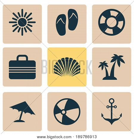 Icons Set. Collection Of Lifesaver, Balloon, Parasol And Other Elements. Also Includes Symbols Such As Boat, Suitcase, Cocos.