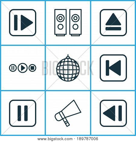 Multimedia Icons Set. Collection Of Following Music, Last Song, Extract Device And Other Elements. Also Includes Symbols Such As Pause, Back, Extract.