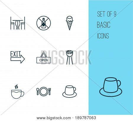 Cafe Icons Set. Collection Of Coffee Cup, Grill, Tea And Other Elements. Also Includes Symbols Such As Table, Open, Tea.