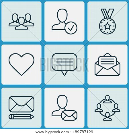 Network Icons Set. Collection Of Follow, Team Organisation, Edit Mail And Other Elements. Also Includes Symbols Such As Letter, User, Reward.