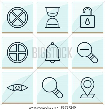Web Icons Set. Collection Of Pinpoint, Positive, Hourglass And Other Elements. Also Includes Symbols Such As Rustication, Open, Clock.
