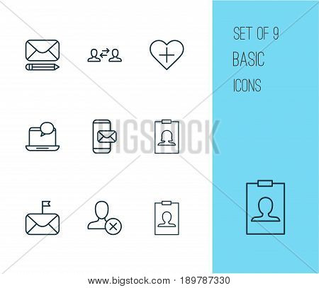 Network Icons Set. Collection Of Identity Card, Edit Mail, Significant Letter And Other Elements. Also Includes Symbols Such As Refuse, Favorites, Pen.
