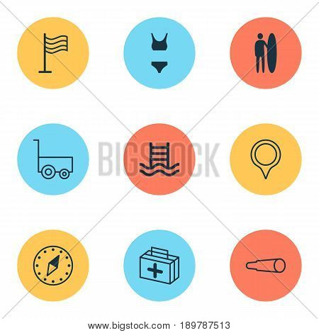 Travel Icons Set. Collection Of Freight Trolley, Basin Ladder, Cardinal Direction And Other Elements. Also Includes Symbols Such As First, Place, Medicine.