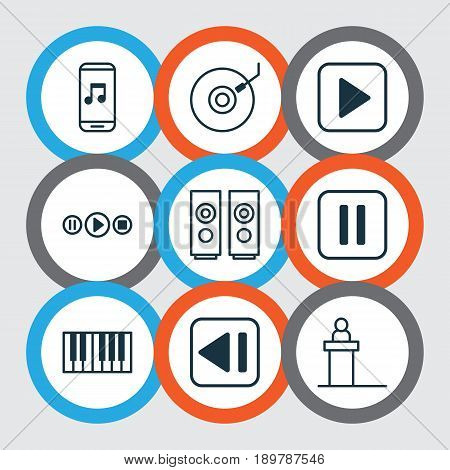 Audio Icons Set. Collection Of Piano, Last Song, Mute Song And Other Elements. Also Includes Symbols Such As App, Button, Piano.