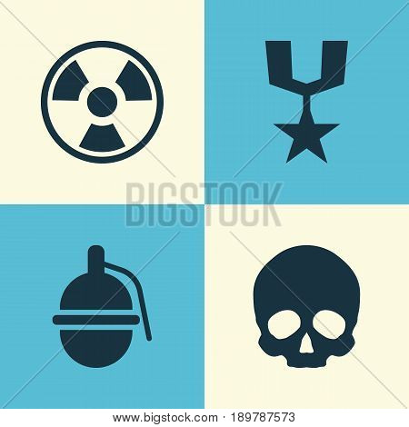 Warfare Icons Set. Collection Of Dangerous, Order, Cranium And Other Elements. Also Includes Symbols Such As Head, Gong, Skull.
