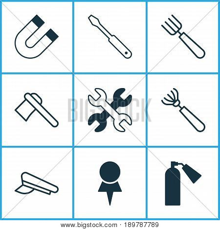 Tools Icons Set. Collection Of Garden Fork, Harrow, Firefighter And Other Elements. Also Includes Symbols Such As Rake, Harrow, Pitchfork.