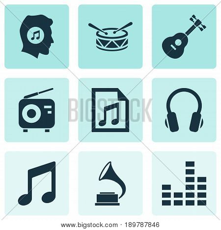 Multimedia Icons Set. Collection Of Instrument, Music, Barrel And Other Elements. Also Includes Symbols Such As Music, Equalizer, Headphone.