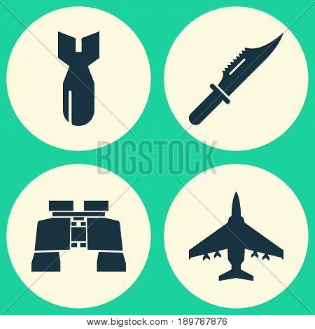 Warfare Icons Set. Collection Of Glass, Cutter, Aircraft And Other Elements. Also Includes Symbols Such As Dynamite, Binoculars, Knife.