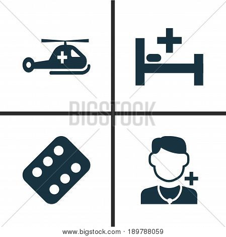 Medicine Icons Set. Collection Of Copter, Tent, Physician And Other Elements. Also Includes Symbols Such As Helicopter, Illness, Medicament.